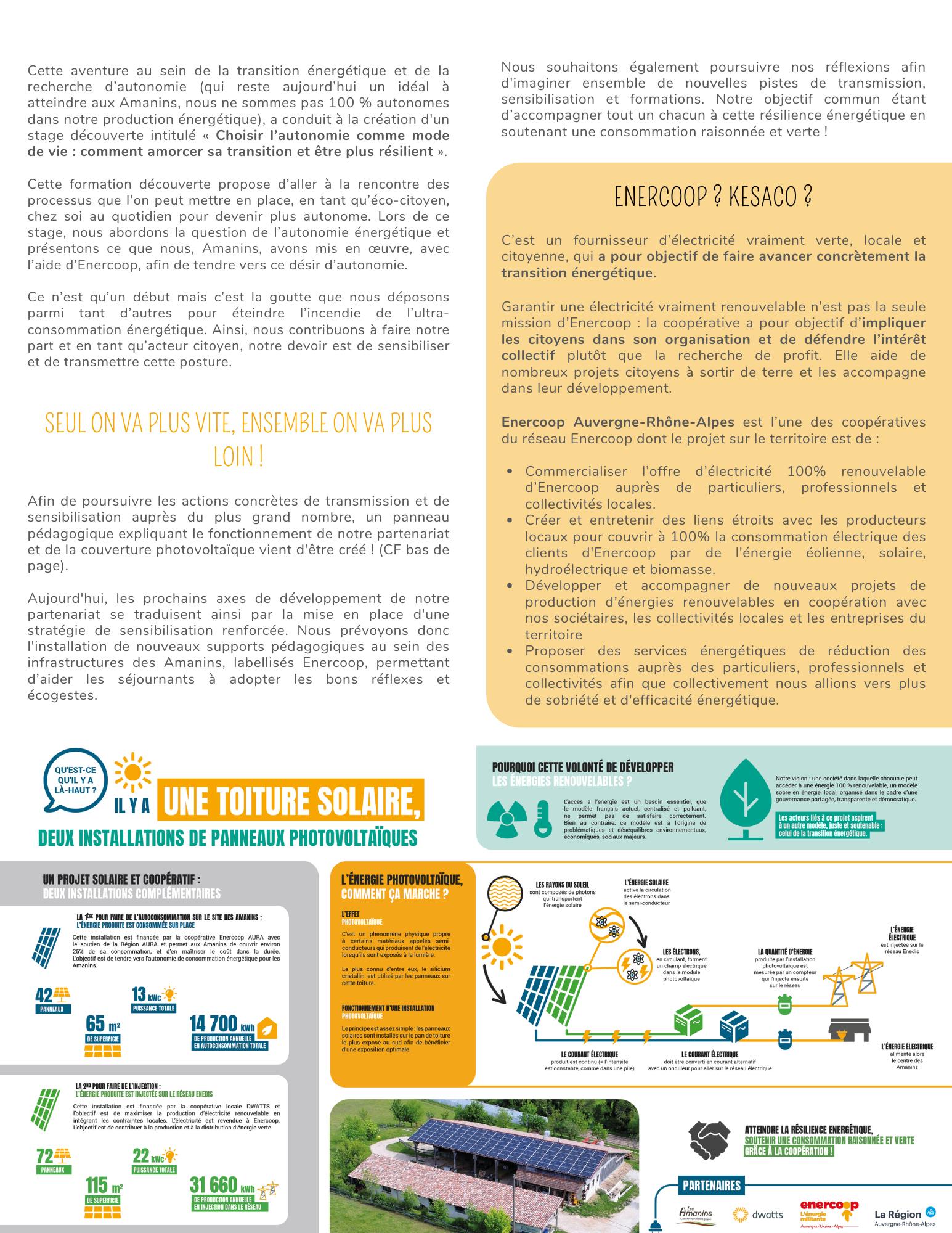 Communiqué de presse Les Amanins - Enercoop partenariat suite